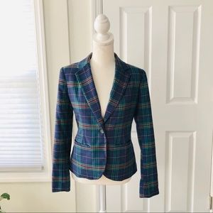 Merona Blue Green Plaid Blogger Tailored Blazer 2